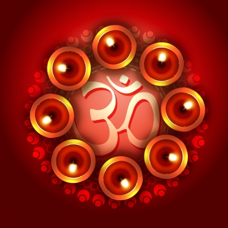 om symbol: diwali background with diya and om symbol Illustration