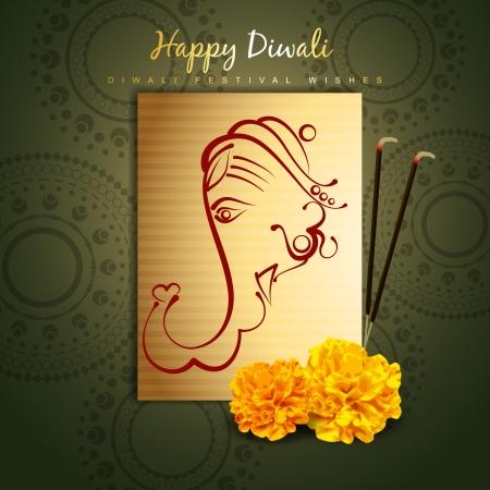 lord ganesha: dise�o feliz Diwali vector con ganesha del se�or