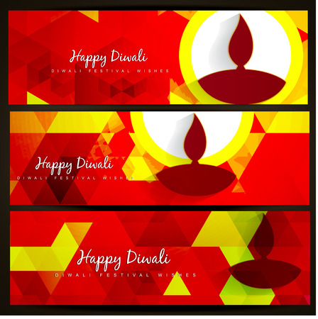 set of beautiful diwali headers Stock Vector - 22464014