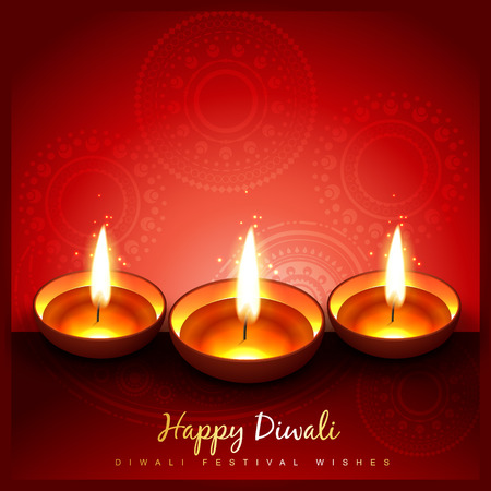 beautiful stylish diwali diya on red background Vector