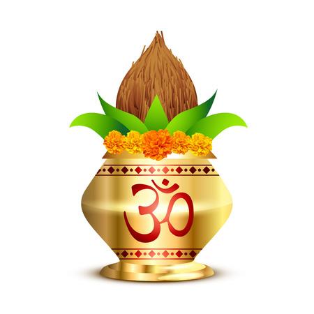pooja kalash with om symbol Vectores