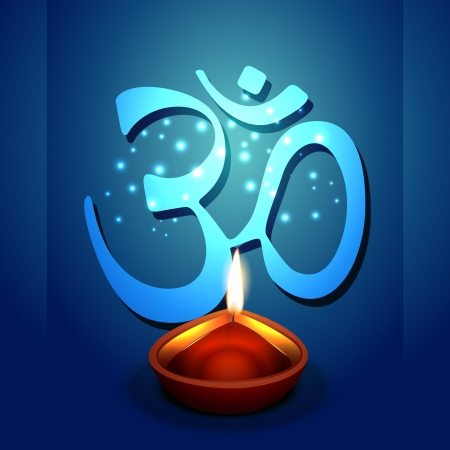vector diwali diya with om symbol Vector