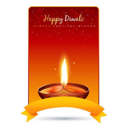 beautiful diwali diya background design with space for your text Vector