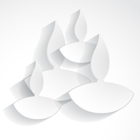 vector diwali diya on white background