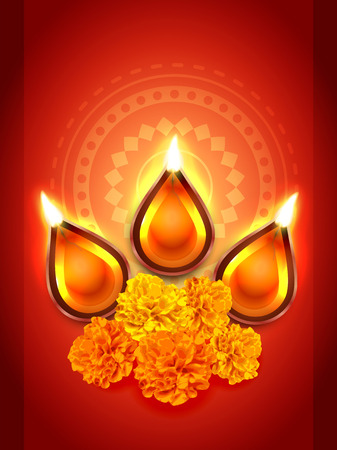 diwali diya festival with flower Vector