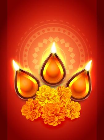 diwali diya festival with flower Stock Vector - 22463858