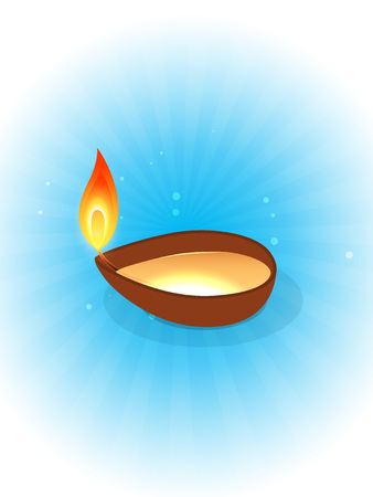 vector diwali festival diya on blue background Vector