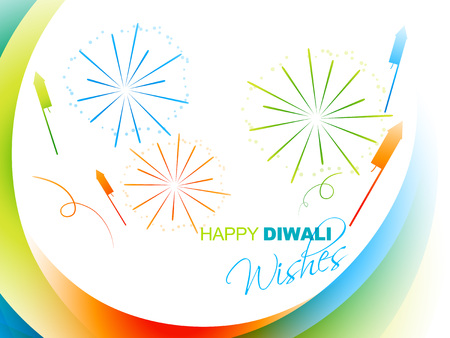 colorful diwali festival design with fireworks 向量圖像