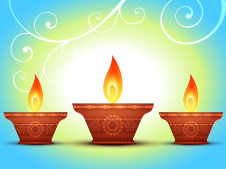 vector diwali diya greeting design Vector