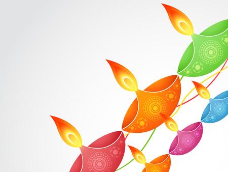 stylish colorful diwali diya design Stock Vector - 22464215