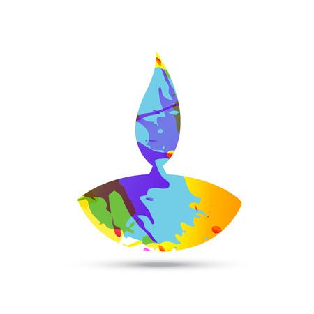 colorful diwali diya vector design