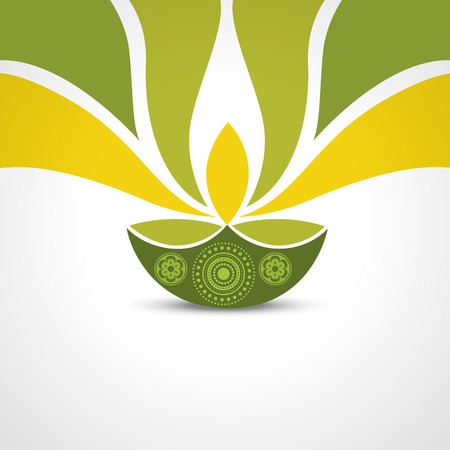 ベクトル緑スタイル ハッピーディワリ デザイン  イラスト・ベクター素材