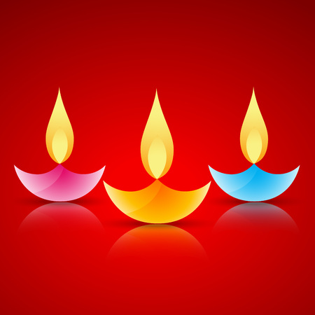 stylish colorful vector diya on red background Vector
