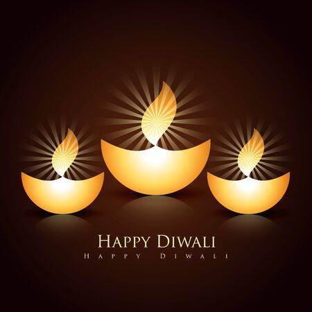set of beautiful vector diwali diya Vector