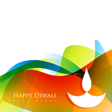colorful wave style happy diwali design Illustration