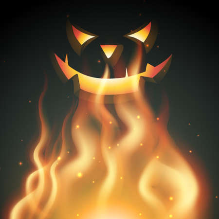 halloween smiling ghost on fire Stock Vector - 22757094