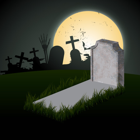 creepy halloween design with grave and moon