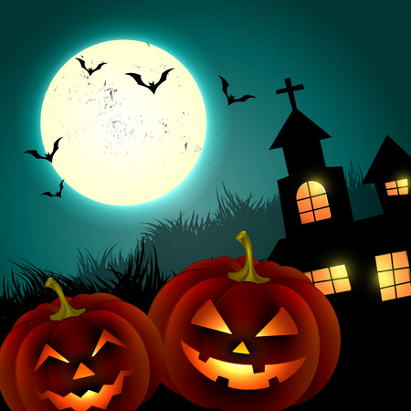 halloween creepy pumpkin design illustration Vector