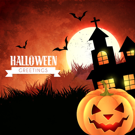 scary happy halloween design illustration