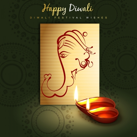 beautiful happy diwali design with lord ganesha Stock Vector - 22817482