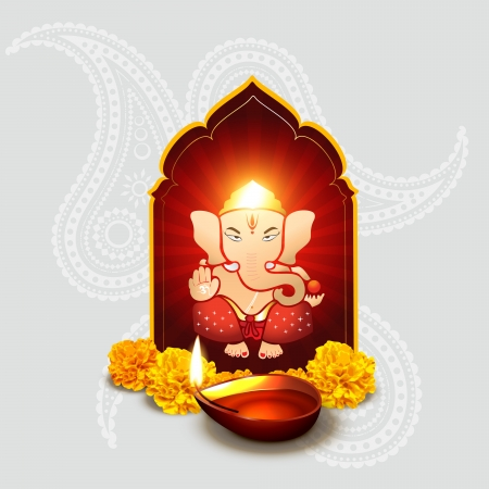 incarnation: beautiful indian god ganesha with diwali diya