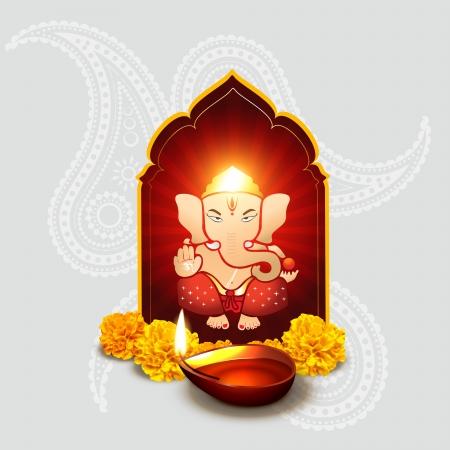 indian god: beautiful indian god ganesha with diwali diya