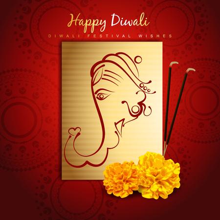 lord ganesha: hermoso dise�o Happy Diwali con Ganesha