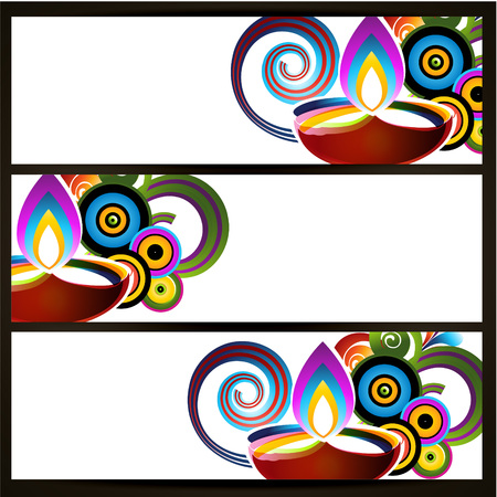 vector abstract style diwali header design Illustration