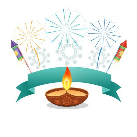 diwali diya with sparkling crackers