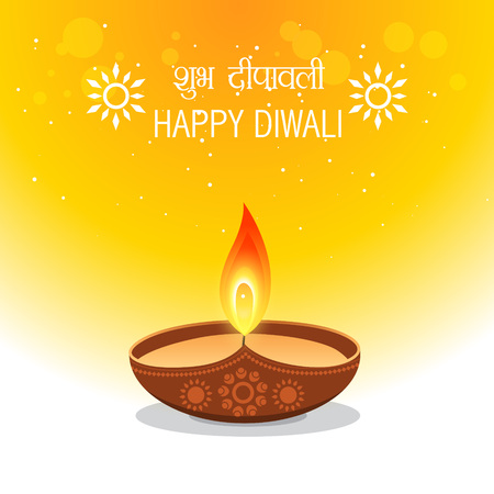 happy diwali wishes greetings illustration Vector