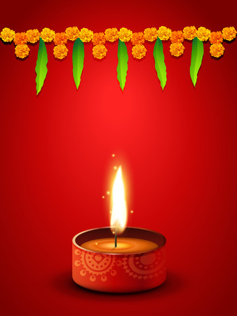 vector diwali diya with space for your text Vector