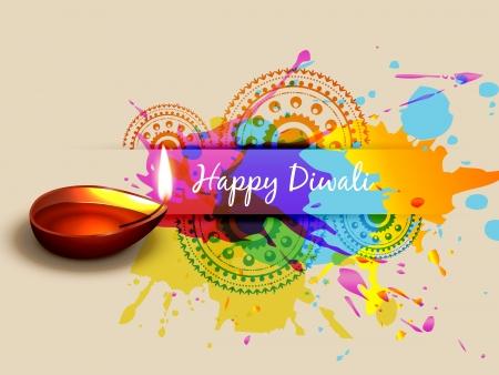 vector kleurrijke diwali ontwerp illustraties Stock Illustratie