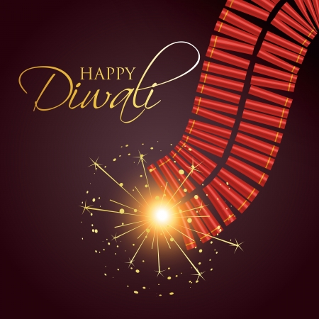diwali burning crackers with space for your text Vector