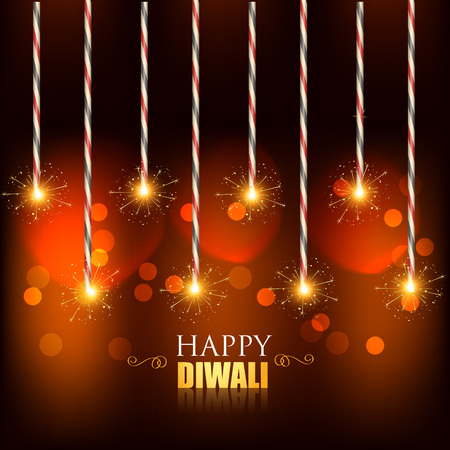 vector diwali background with burning crackers Vector