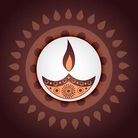 artistic indian festival diwali diya design Vector