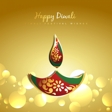 vector diwali golden paisley diya design illustration Vector
