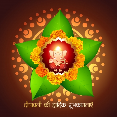 beautiful indian god ganesha with diwali wishes Vector