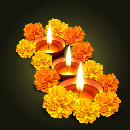 diwali vector design with flowers