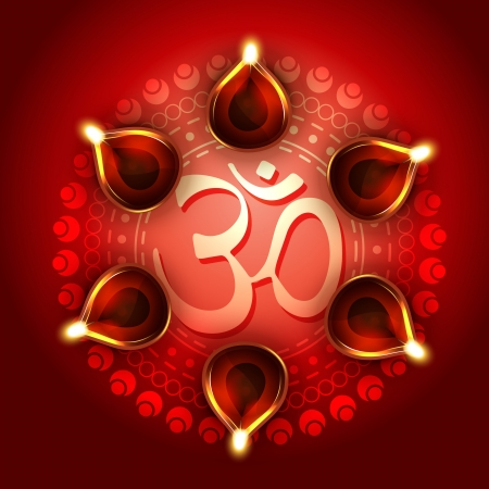 vector diwali background with diya and om symbol Vector