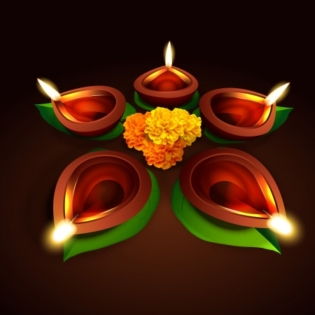 vector diwali design with diya and leaf Stock Vector - 23064246