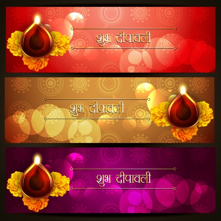 beautiful set of shubh diwali (translation: happy diwali) header designs Vector