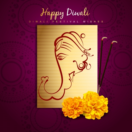 beautiful indian lord ganesha golden design Vector