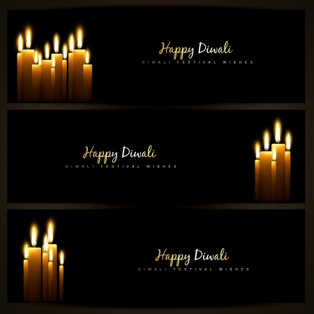 happy diwali indian festival design headers set Vector