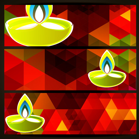abstract colorful diwali header set Vector