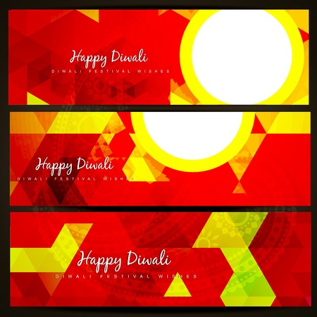 shiny vector diwali headers design Vector