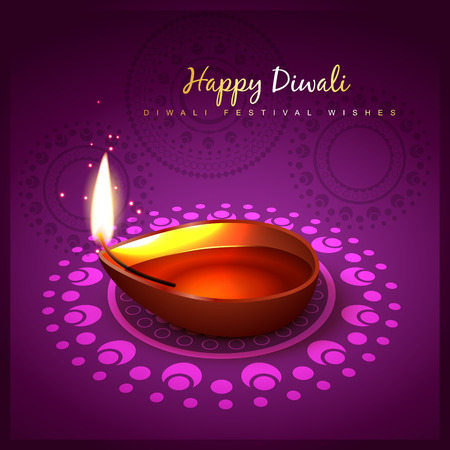 diwali diya festival design background Vector