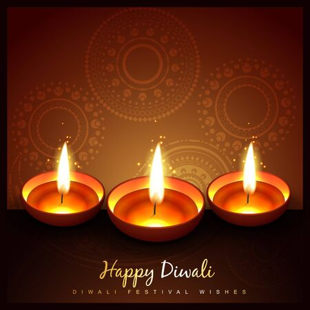 beautiful diwali festival diya background Vector