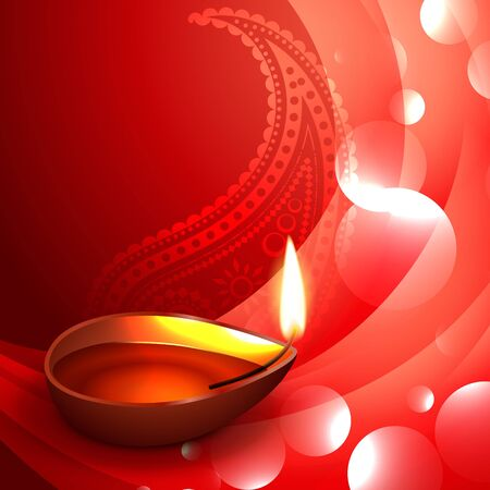 stylish diwali diya on wave background Vector