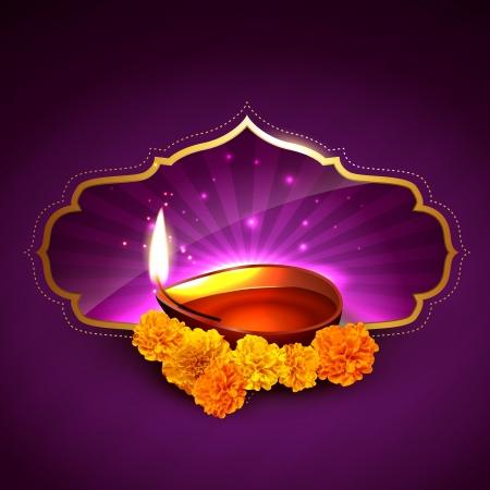 indian light: beautiful stylish diwali festival illustration