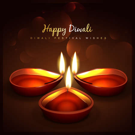 beautiful diwali festival diya background Vector